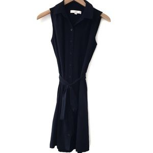 LOFT navy blue sleeveless button up belted dress S